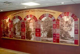 Custom Donor Recognition Wall at Vinton, IA Hospital - Presentations Inc