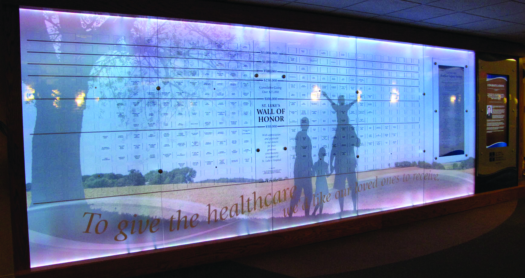Lighted Donor Wall with Interactive Display