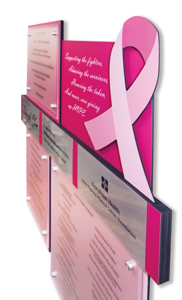 Branded Custom Donor Display for Breast Cancer - Anamosa, IA
