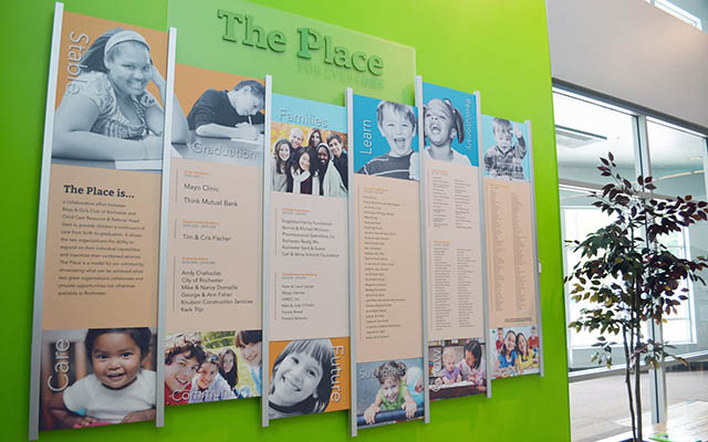 Custom seven column Donor Wall Display on a Bright Green Wall listing Annual Donors and includes kids photos and bright colors